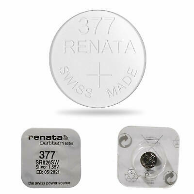 2 x RENATA 377 WATCH BATTERY SR626SW SWISS MADE SILVER OXIDE 1.55V MERCURY FREE