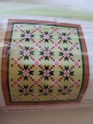"Nordic Holiday (Red) Quilting Kit by Connecting Threads w/ Backing 65.5"" x 80.5"""