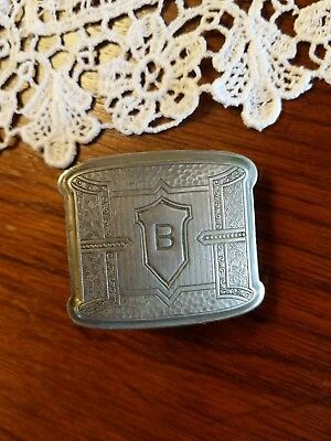 Antique Art Deco Belt Buckle Silver Plated Initial B