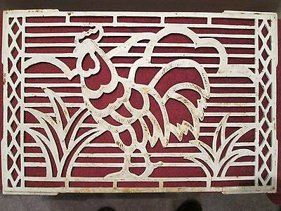 Old Looking Rooster Register Grate 22.5 X 15 Inches Use As A Trivet