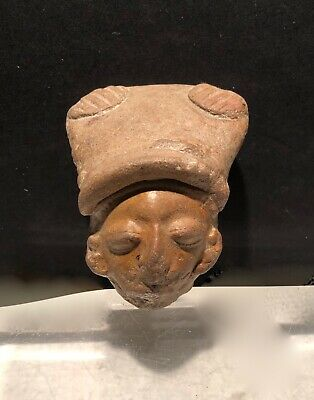 Pre Columbian La Tolita Female Head Fragment 200 B C  Authentic