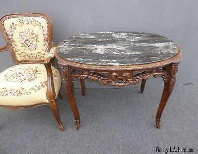 Antique French Louis XV Marble Side Table ~ Ornately Carved Wood