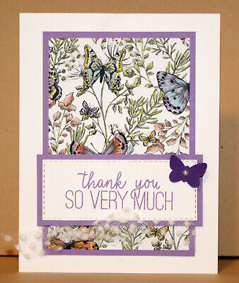 837e07268bf34 THANK YOU GREETING CARD KIT x4 ~ Handmade Stampin Up Botanical Butterfly DP