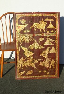 Vintage Asian Oriental Brown & Gold Hand Painted Wall Panel Picture