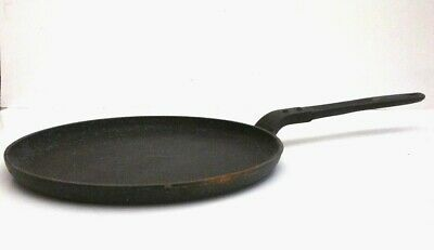 "RARE Antique A C French Cast Iron Handled Flat 10"" Skillet Griddle Pan Chef LOOK"