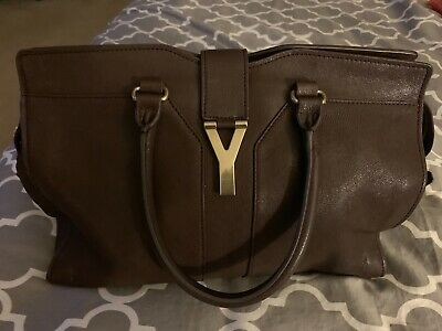 48f3548cfc YVES SAINT LAURENT YSL Cabas Chyc Purple Saffiano Leather Medium ...