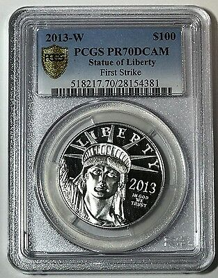 2013 W PLATINUM EAGLE PROOF 1oz $100 Statue of Liberty PCGS PR70 DCAM FS Secure+