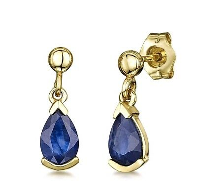 LAST PAIR!! Theia 9ct Yellow Gold Pearshaped Stud Drop Earrings Blue Sapphire
