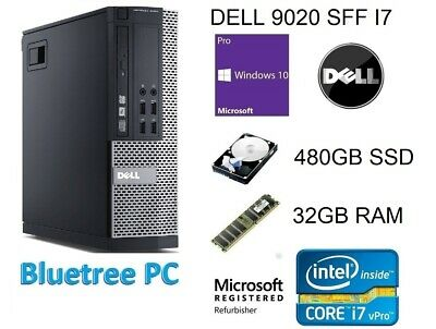 Dell 9020 SFF Core i7-4770 32GB Ram 480GB SSD Win10 Pro Desktop Computer PC