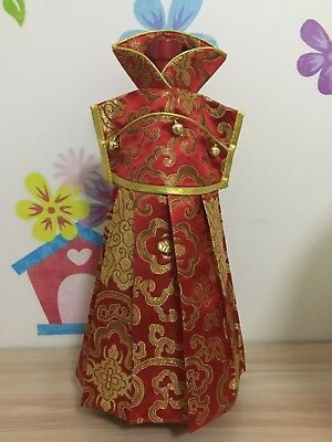 Red Oriental Chinese Dress costumes brocade Wine Bottle Covers Case Decoration