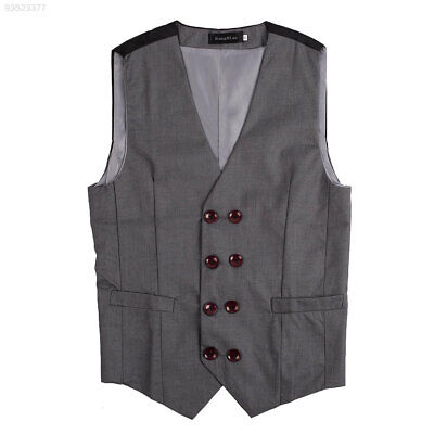 F2C7 Mens Double breasted Button V Neck Slim Fit Tuxedo Dress Vest Grey XL
