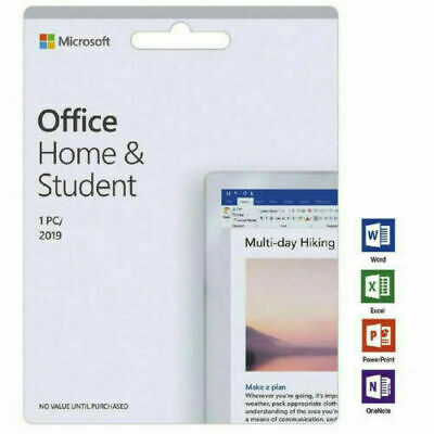Microsoft Office Home and Student 2019 Key Card Apple Mac/Windows 10 - Activated