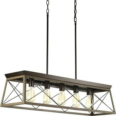 New Progress Lighting Briarwood Antique Bronze Five-Light Linear Chandelier- SIB