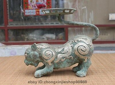 China Dynasty old Bronze Silver-Gilt Wild Animal Tiger Palace Candlestick Statue