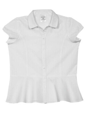 Girls GEORGE UNIFORM White Polo Short Sleeve Shirt Sz L A2C 10-12 * Qty6