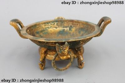 Chinese Bronze gilt ancient script dragon Dynasty Palace Censer Tray plate