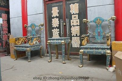 China Royal Bronze cloisonne Fo Dog lion Head Dragon Emperor Tables stool Chair