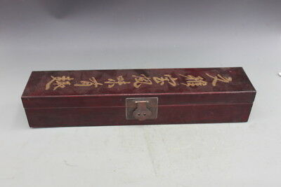 Chinese Wood lacquerware Carving Storage Picture calligraphy case box