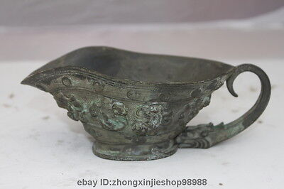 Chinese Royal Pure Bronze Copper Dragon Brave troops Dynasty Wineglass Wine Cup