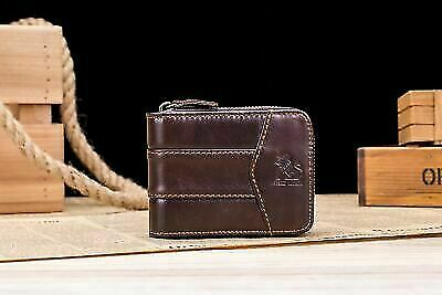 Mens Genuine Leather Wallet Coin Pocket Zipper Purse Vintage Style Retro Gift US