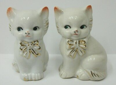 Vintage White Cats Kittens with Gold Bows Salt and Pepper Shaker Set - EUC