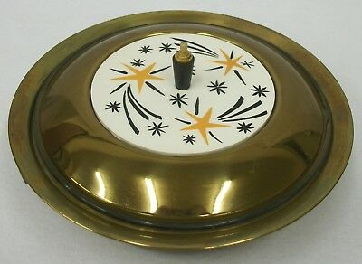 Vtg MCM Mid Century Modern Atomic Stars Brass Covered Casserole Serving Dish