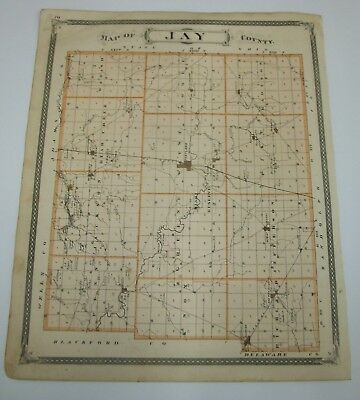 Antique 1876 Indiana Map Atlas Jay Co Mexico Denver Decatur