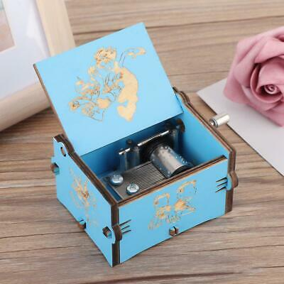 Exquisite Hand Crank Wooden Engraved Music Box Birthday Gift Ornament Decoration