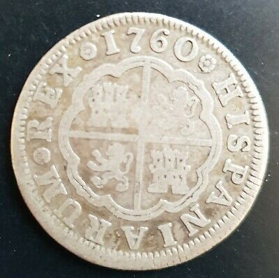 1760 Spain 2 Reales Charles III Silver Coin.....