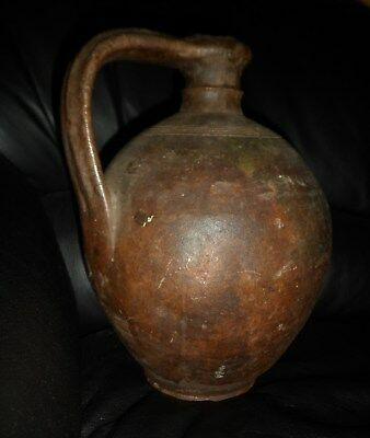 Very Old Terracota Wine Jug. Glazed, Solid. South Europe. 28Cm Tall