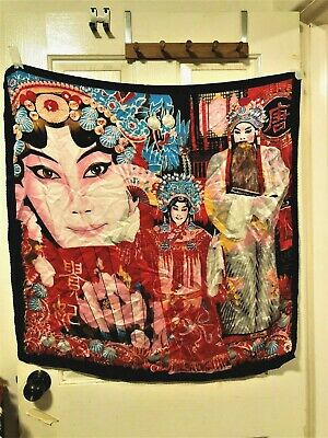Stunning Exotic Hand Rolled Silk  Large Indian Mythical Theme. Signed.