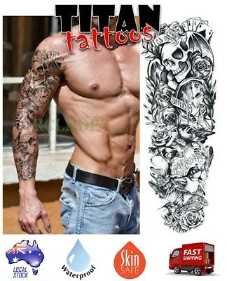 Temporary Tattoo - Skull Roses & Clock Long Sleeve Fake Tattoo Body Art Sticker