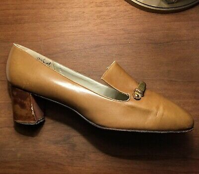 *Vintage Palter Deliso Women's Beige Leather Shoes* Chic Couture Glam Heels 8.5