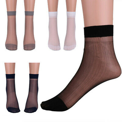 3 Pairs Men Thin Socks Silk See Through Sheer Over Ankle Stretchy Stockings 29CM