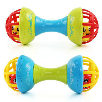 TH_ Funny Multicolor Teether Rattle Toy Grasping Gums Hand Bell Educational Braw
