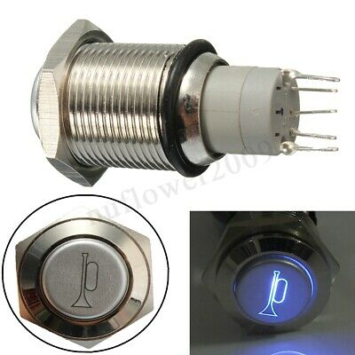 Momentary Push Button Metal Switch Car Boat Speakers Bell Horn 16mm 12V LED