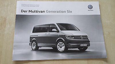 Der VW T6 Multivan Generation Six Prospekt 11.2015