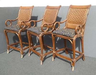Vintage Bamboo Rattan Style Black & Brown Bar stools ~ Tommy Bahama Style