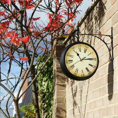 Outdoor Garden Paddington Station Double Sided Wall Clock 20CM Outside Bracket