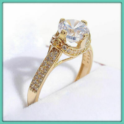 2.25Ct D/Clear Diamond Solitaire Engagement Ring Round Cut 14K Yellow Gold Over
