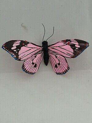 Hand Painted Pink Feather Butterflies