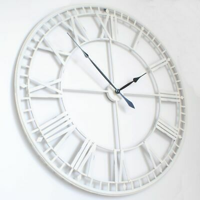 "Large Roman Big VintageWhite Skeleton Wall Clock 120cm  47"" diameter"