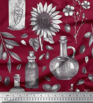 Soimoi Fabric Sunflower & Jar Vintage Print Fabric by the Yard - VT-14B