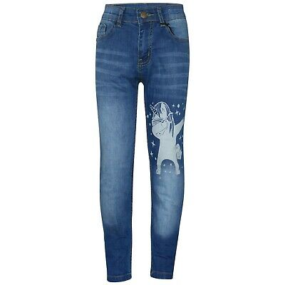 Kids Girls Light Blue Jeans Unicorn Dab Floss Denim Stretchy Pants Fit Trouser