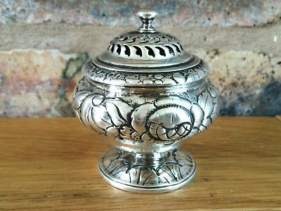 Antique 1817 George III Silver Foliate Pierced Floral Embossed Pounce Pot