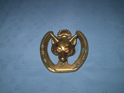 vintage brass fox door knocker, 11cm diameter