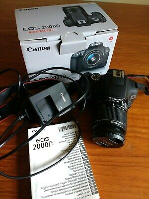 Canon EOS 2000D DSLR Camera Canon 18-55mm Zoom Lens kit with Battery, Charger.