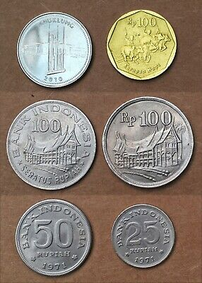 INDONESIA:- 6 different 20th century circulation coins. 25 - 1000 Rupiah AP7410