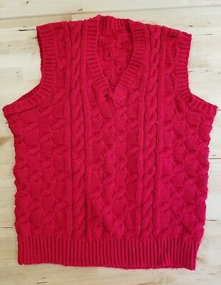 Men's or Women's V-Neck Sweater Vest, Hand Made, Red, Small, basketweave/cable