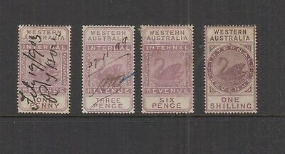 Western Australia 1897 1d-1/- INTERNAL REVENUE-WCrownA- Elsmore Cat $26-U (4)